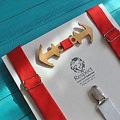 """Аксессуары handmade. Livemaster - original item Деревянная бабочка """"Два якоря"""" + ярко красные подтяжки. Handmade."""