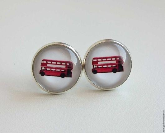 """Серьги ручной работы. Ярмарка Мастеров - ручная работа. Купить Серьги """"Автобус"""". Handmade. Ярко-красный, красный, серьги"""