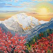 Картины и панно ручной работы. Ярмарка Мастеров - ручная работа Восход в горах. Handmade.