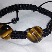 Украшения handmade. Livemaster - original item Shamballa bracelet with tiger`s-eye