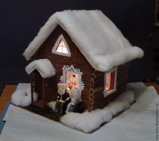 Освещение ручной работы. Ярмарка Мастеров - ручная работа. Купить Деревенская зимняя избушка. Handmade. Избушка, смешанная техника