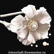 """Украшения handmade. Livemaster - original item Цветы из кожи.Ободок для волос """" PEARL FLOWER"""" .Натуральная кожа.. Handmade."""