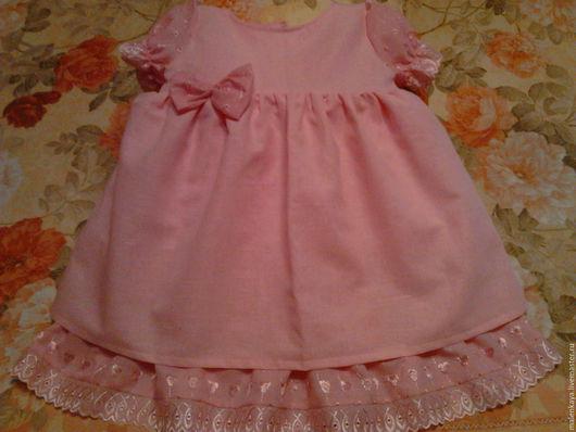 платье для девочки `Сьюзи` из российского льна - хлопка. Хлопок. Лен. Шитье. шитье кружево. платье пышное. нарядное. авторская модель.