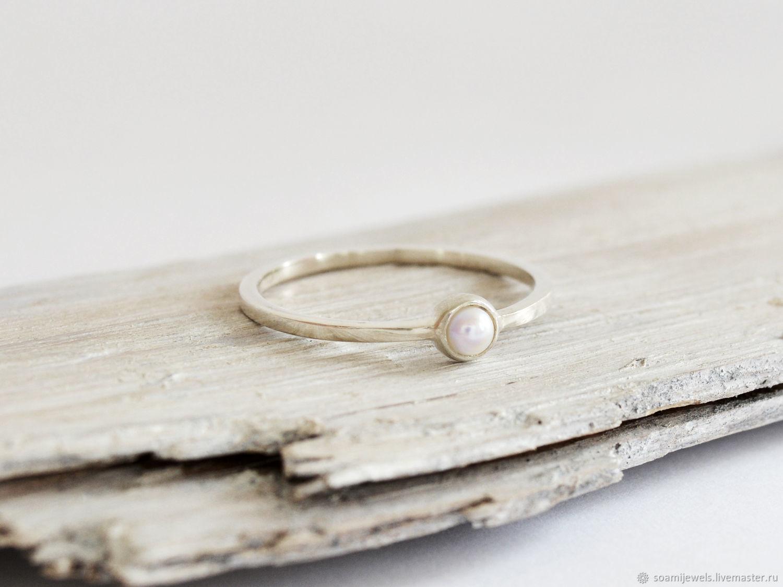 Серебряное кольцо с жемчужиной, серебро 925 пробы, Кольца, Прага,  Фото №1