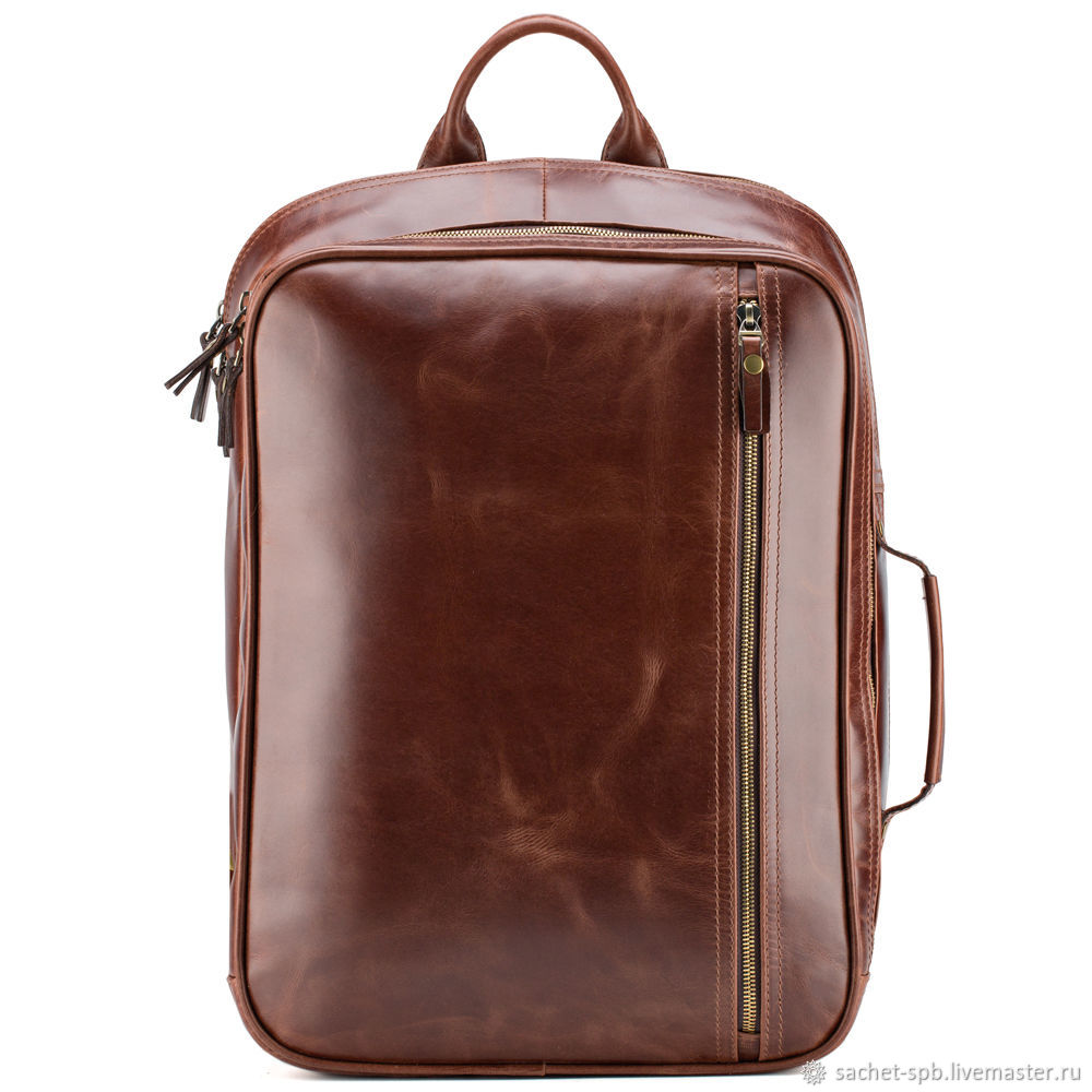 Leather backpack-bag 'Bruce' (brown crazy), Classic Bag, St. Petersburg,  Фото №1