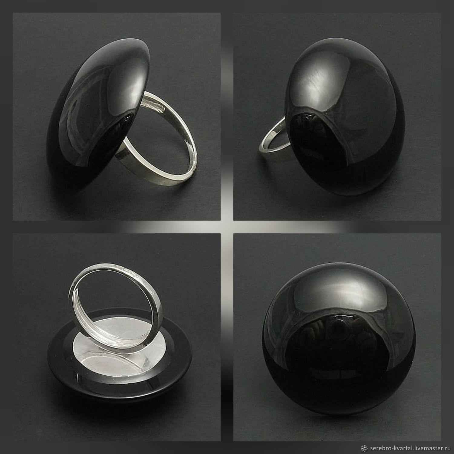 Ring with big stone. Black onyx round, Rings, Turin,  Фото №1