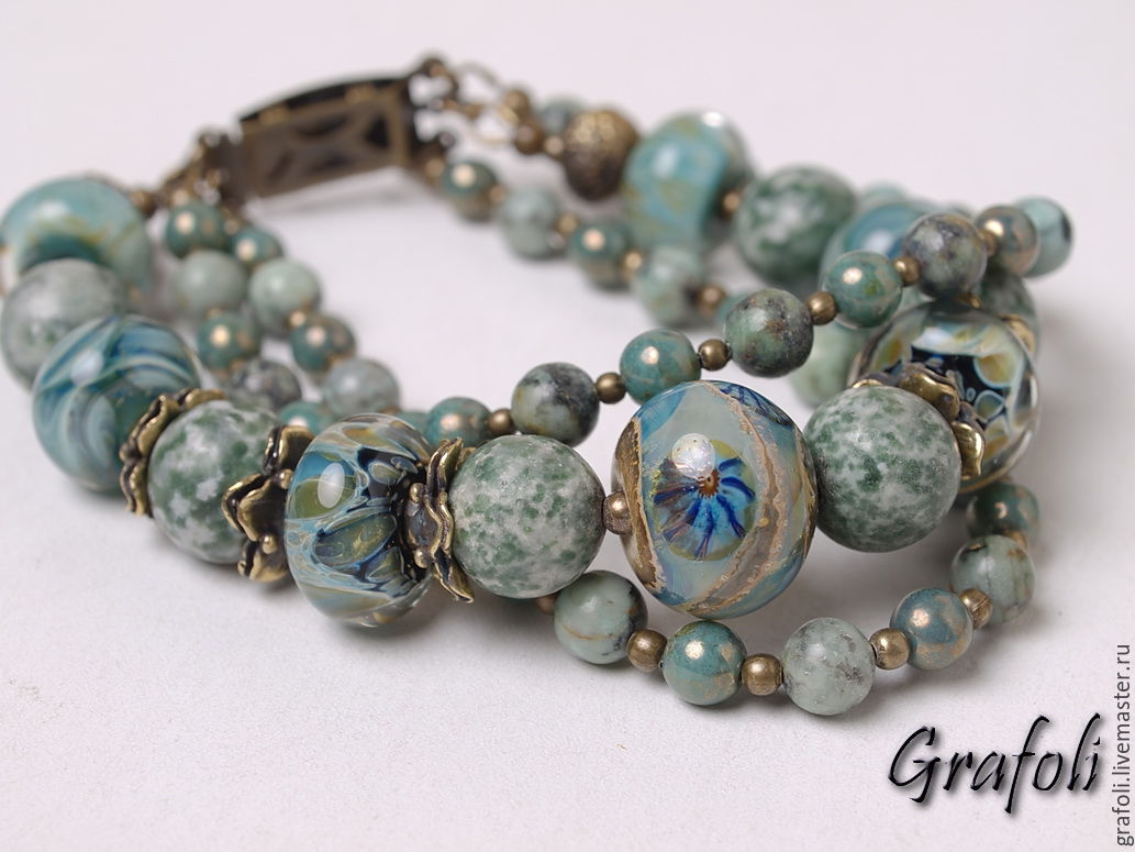 Bracelet from stones of Brittany, Bead bracelet, Moscow,  Фото №1