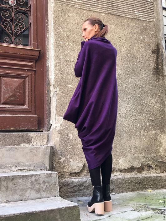 платье фиолетовое теплое из шерсти платье зимнее длинное теплое платье
