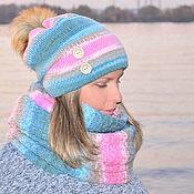 Аксессуары handmade. Livemaster - original item Set knitted women: double hat Snood