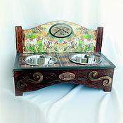"""Для домашних животных, handmade. Livemaster - original item Интерьерная подставка под миски """"Ресторан Охотничий""""(авторский дизайн). Handmade."""