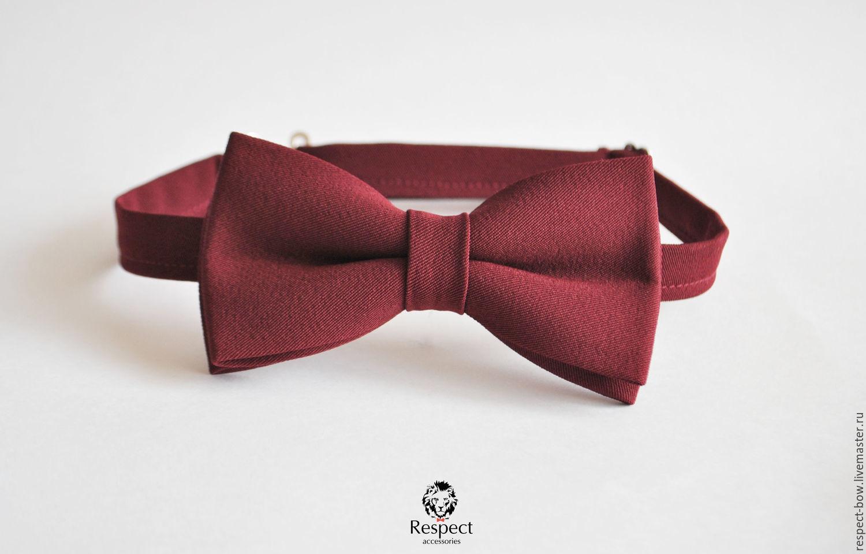 Бордовая галстук бабочка Марсала / бабочка галстук на бордовую свадьбу, Галстуки, Москва,  Фото №1