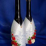 Свадебный салон ручной работы. Ярмарка Мастеров - ручная работа Оформление бутылок на свадьбу. Handmade.