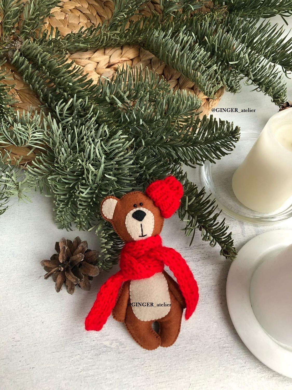 New year Teddy bear in red scarf, Teddy Bears, St. Petersburg,  Фото №1
