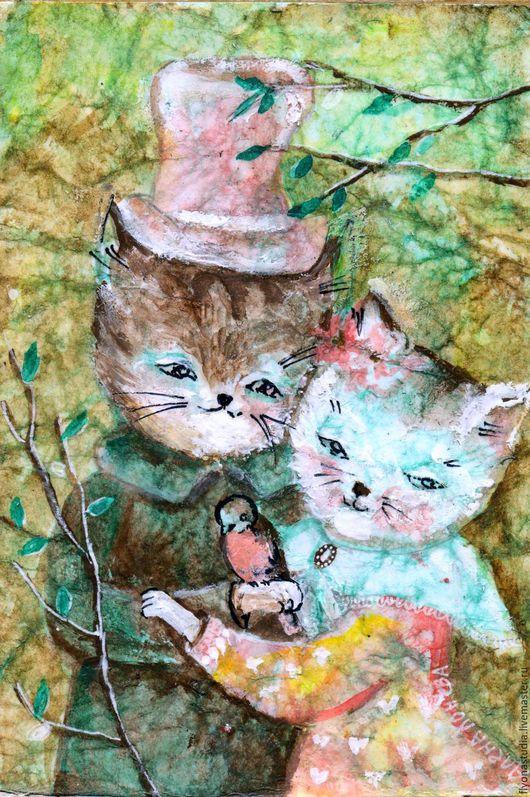Граф Муркин Кристо.. Миниатюра с милой парочкой кошек. Сказочная картина для детской комнаты на кракелюр-бумаге . Оригинальный сюжет. Сказка в теплоте рук Алены Коневой