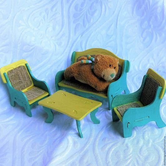 Кукольный дом ручной работы. Ярмарка Мастеров - ручная работа. Купить Мебель для кукол Зелёно-жёлтая Гостиная. Handmade. Зеленый
