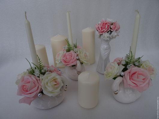 Свечи, свадебные свечи, семейный очаг, розовый зефир, свадебное украшение, свадебный декор, украшение свадебного стола, президиума, белые лебеди, платье невесты, розы, букет невесты, Elena Karafuto.