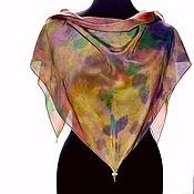 Аксессуары handmade. Livemaster - original item Silk handkerchief triangular bandana made of crepe de chine hand painted. Handmade.