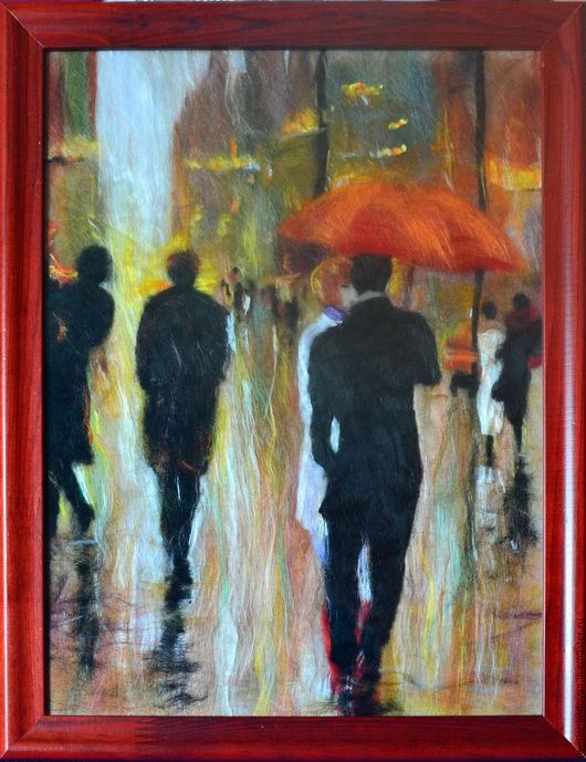 Люди, ручной работы. Ярмарка Мастеров - ручная работа. Купить Картина из шерсти Встреча в Париже по сюжету Лоррейн Кристи. Handmade.