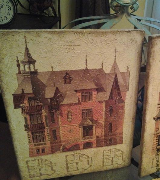 Город ручной работы. Ярмарка Мастеров - ручная работа. Купить Панно деревянное 30х40_английский дом_Викторианский стиль (2) W0337. Handmade.