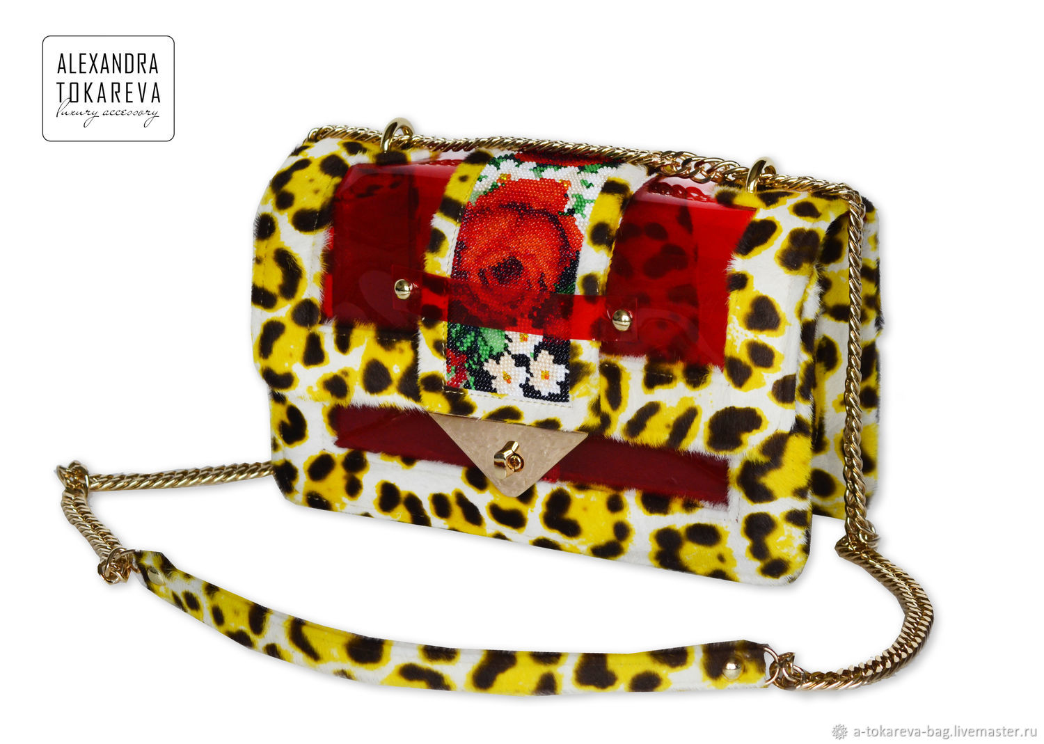Exclusive bag with a unique hand-made beadwork Sun leopard, Classic Bag, Kiev,  Фото №1