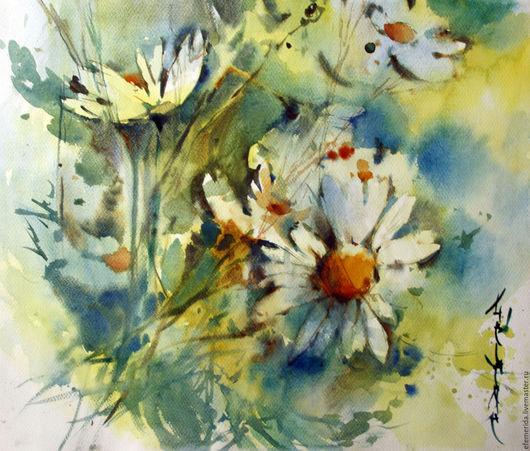 Картины цветов ручной работы. Ярмарка Мастеров - ручная работа. Купить акварель ромашки (2). Handmade. Бирюзовый, голубой, ромашки
