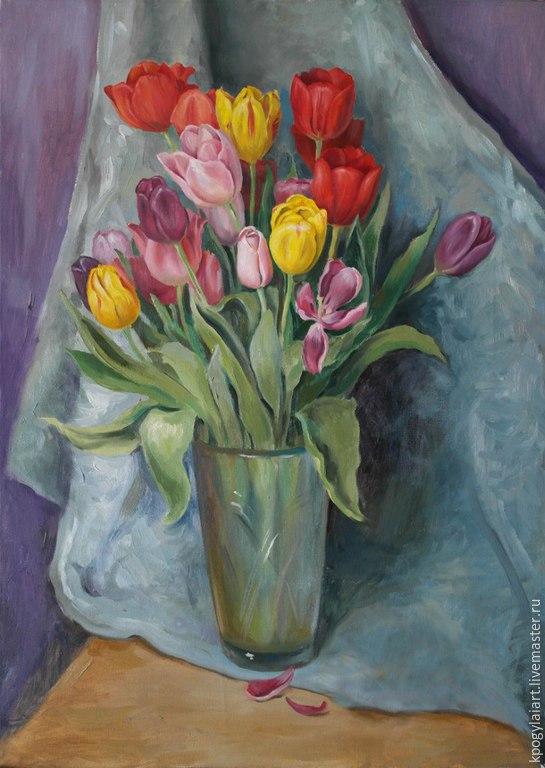 """Картины цветов ручной работы. Ярмарка Мастеров - ручная работа. Купить Картина масло """"Тюльпаны"""". Handmade. Живопись, цветы, тюльпаны"""