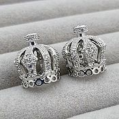 Материалы для творчества handmade. Livemaster - original item Cap Crown 15h13 mm cubic Zirconia platinum (3441). Handmade.