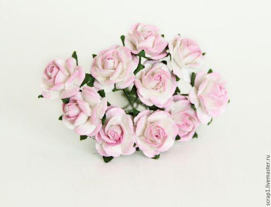 Открытки и скрапбукинг ручной работы. Ярмарка Мастеров - ручная работа. Купить Розы 1,5. Розовый+белый. 10 шт.!. Handmade.