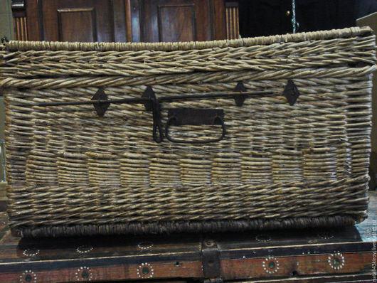 Винтажные предметы интерьера. Ярмарка Мастеров - ручная работа. Купить Старинный плетеный сундучок.. Handmade. Бежевый, материалы для творчества