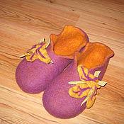 """Обувь ручной работы. Ярмарка Мастеров - ручная работа Тапочки из шерсти """"Желтый лист"""". Handmade."""