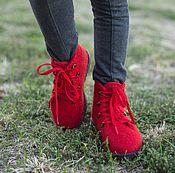 Работы для детей, ручной работы. Ярмарка Мастеров - ручная работа Валяные ботинки Красное настроение. Handmade.