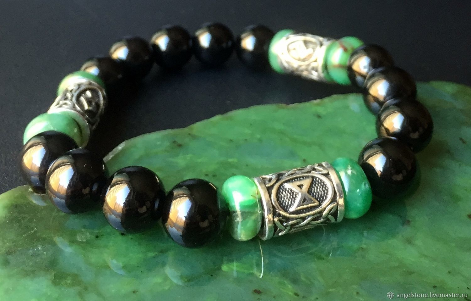 Agate and Chrysoprase bracelet with runes to attract good Luck and Money, Bead bracelet, Krasnodar,  Фото №1