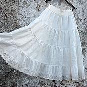 Одежда ручной работы. Ярмарка Мастеров - ручная работа Юбка из льна Арт.101а с кружевом молочный цвет. Handmade.
