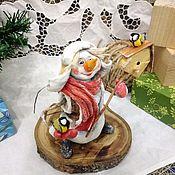 Снеговики ручной работы. Ярмарка Мастеров - ручная работа Ватная игрушка Снеговик со скворечником. Handmade.