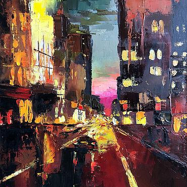 Картины и панно ручной работы. Ярмарка Мастеров - ручная работа Готовая картина маслом Ночной Город. Handmade.