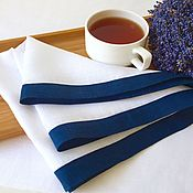 Для дома и интерьера handmade. Livemaster - original item Napkin with blue edging. Handmade.