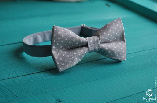 Галстуки, бабочки ручной работы. Ярмарка Мастеров - ручная работа. Купить Галстук бабочка Преферанс / бабочка-галстук серая в мелкий горошек. Handmade.
