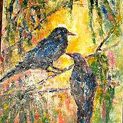 Картины и панно ручной работы. Ярмарка Мастеров - ручная работа КАРТИНА МАСЛОМ Птицы в волшебном лесу. Handmade.
