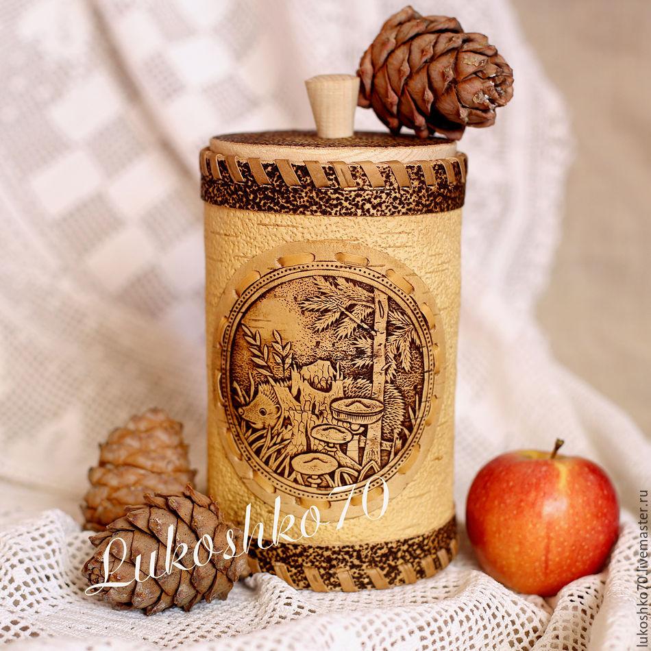 Box of birch bark 'hedgehog'. Bank for cereals salt sugar, Utensils, Tomsk,  Фото №1