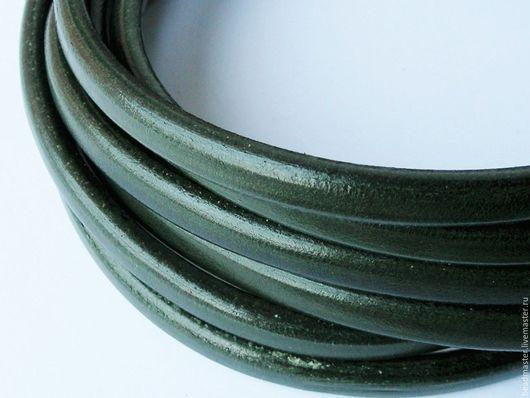 Для украшений ручной работы. Ярмарка Мастеров - ручная работа. Купить Шнур кожаный Регализ (ШР610). Handmade. Тёмно-зелёный