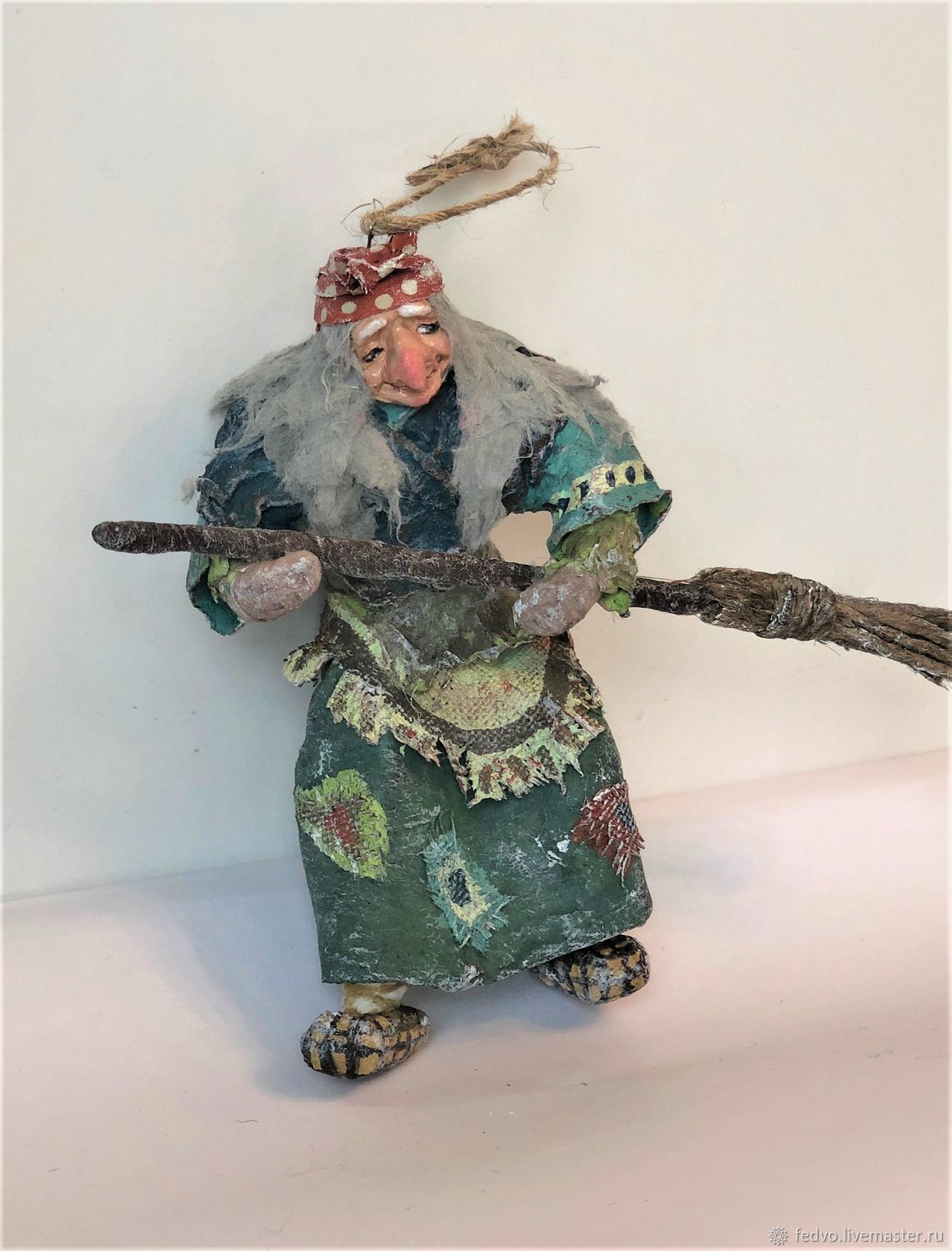 Cotton Christmas toy: Baba Yaga with a broom2, Christmas decorations, Moscow,  Фото №1