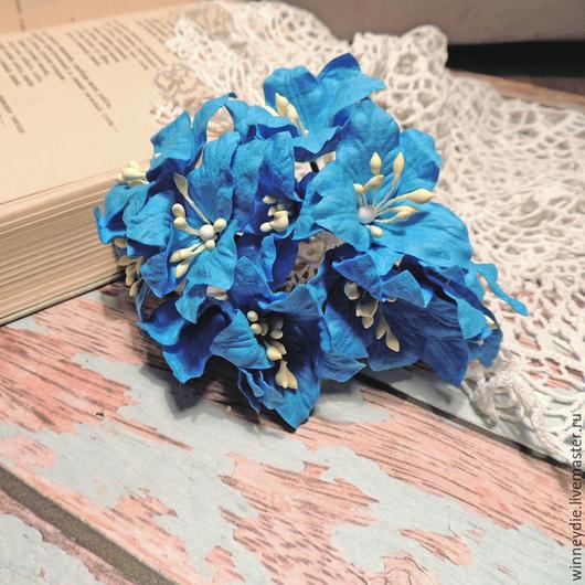 Открытки и скрапбукинг ручной работы. Ярмарка Мастеров - ручная работа. Купить Лилии синие 5шт. Handmade. Синий, лилии, цветы