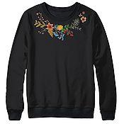 """Одежда ручной работы. Ярмарка Мастеров - ручная работа Свитшот с вышивкой """"Осенний букет"""" черный. Handmade."""