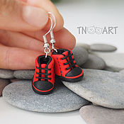 Украшения handmade. Livemaster - original item Earrings Sneakers (red-black). Handmade.