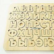 Мягкие игрушки ручной работы. Ярмарка Мастеров - ручная работа Большой безопасный алфавит вкладыш из фанеры для детей. Handmade.