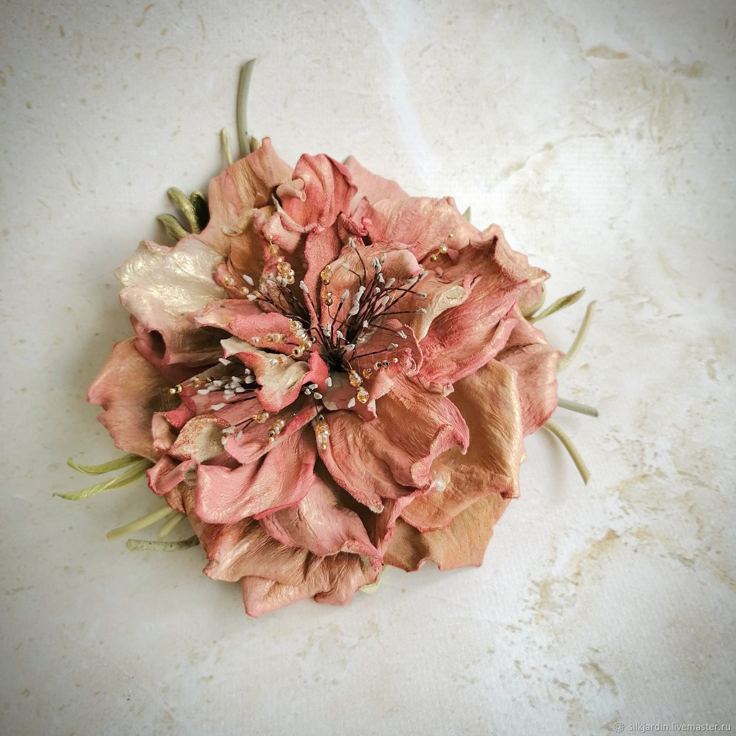 Flower from leather brooch peony Сolorful, Brooches, Chernogolovka,  Фото №1