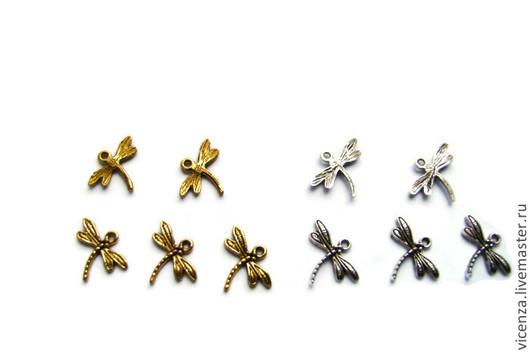 "Подвеска ""Стрекоза""\r\nРазмер - 17*15 мм\r\nЦвет - античное серебро, античное золото.\r\nДля украшений. Рукоделкино."