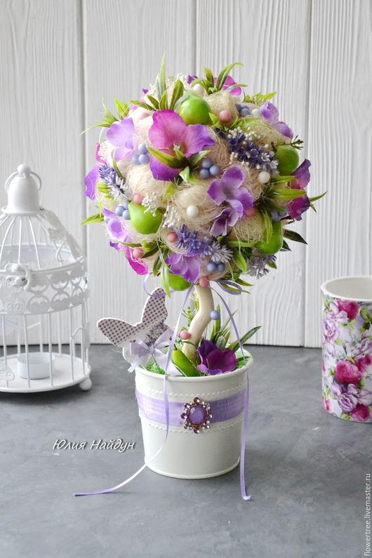 Топиарии ручной работы. Ярмарка Мастеров - ручная работа. Купить Топиарий с цветами (дерево счастья) 38 см. Handmade. Топиарий