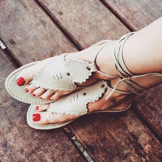 Обувь ручной работы. Ярмарка Мастеров - ручная работа. Купить Wildflower. Сандалии в стиле бохо.. Handmade. Бежевый, туфли из кожи