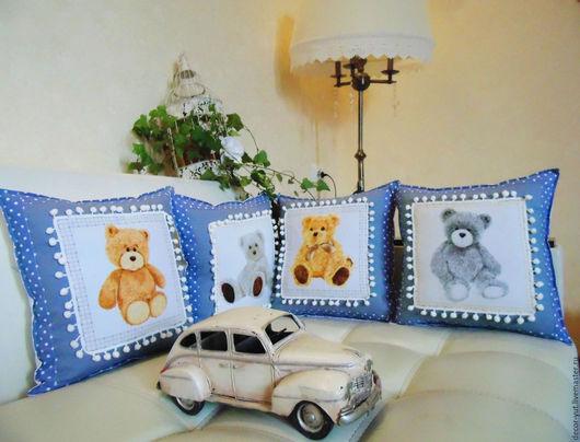 """Текстиль, ковры ручной работы. Ярмарка Мастеров - ручная работа. Купить Комплект подушек"""" Мишки"""". Handmade. Голубой, купить подушку"""
